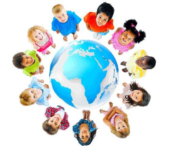 Kids standing around a globe
